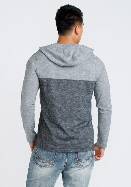 Men's Colour Block Hooded Tee, BLACK, hi-res