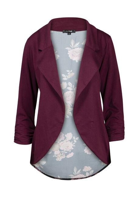 Women's Floral Chiffon Back Blazer