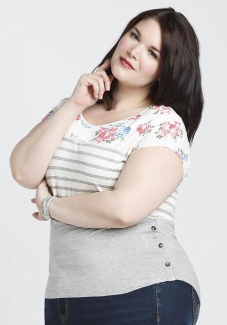 Ladies' Stripe Floral Color Block Top, HEATHER GREY, hi-res