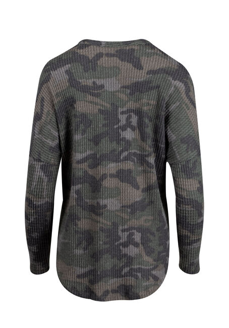 Women's Camo Button Up V-Neck Waffle Top, OLIVE, hi-res