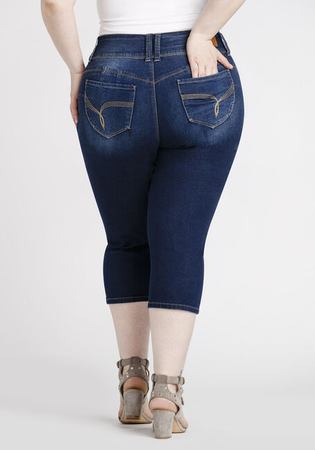 Women's Plus Size Dark Wash Capri, DARK WASH, hi-res