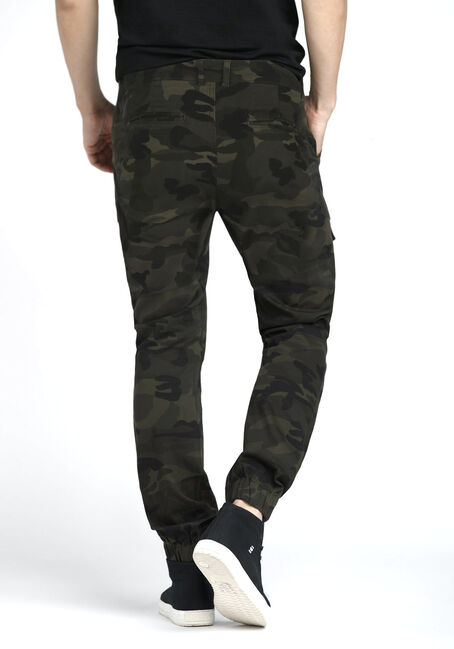 Men's Cargo Stretch Camo Joggers, DARK OLIVE, hi-res