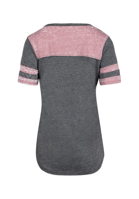 Ladies' Burnout Football Tee, PETAL/BLACK, hi-res