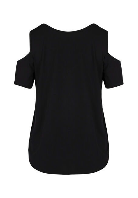 Ladies' Cage Neck Cold Shoulder Tee, SOLID BLACK, hi-res