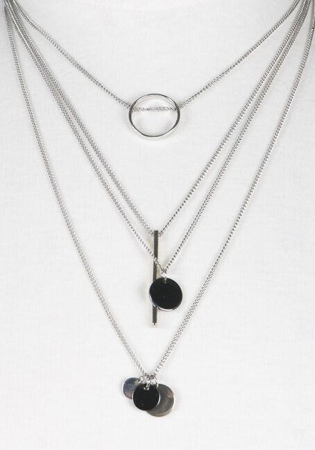 Ladies' 4 Row Geometric Necklace, MIXED METALS, hi-res