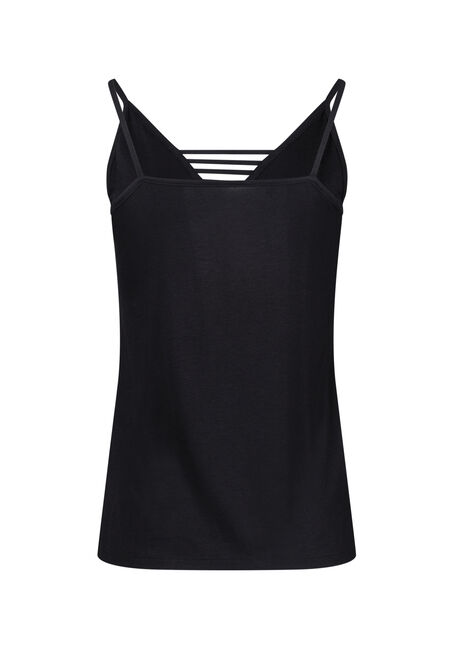 Women's Ladder Neck Tank, BLACK, hi-res