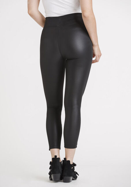 Women's Pull-on Matte PU Legging, BLACK, hi-res
