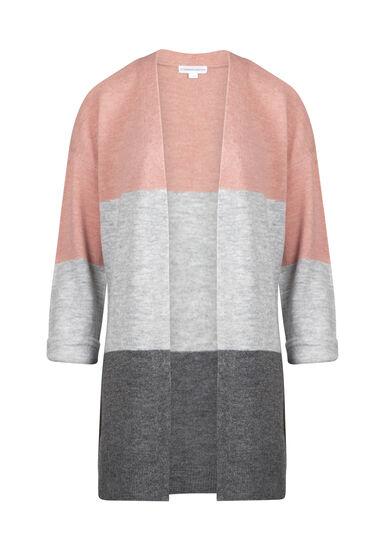 Women's Colour Block Cardigan, DUSTY PINK, hi-res