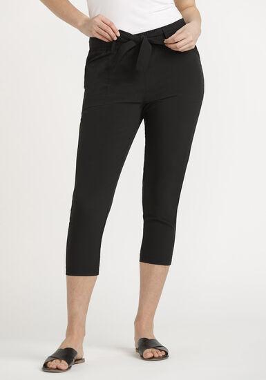 Women's Self Belt Hybrid Capri, BLACK, hi-res