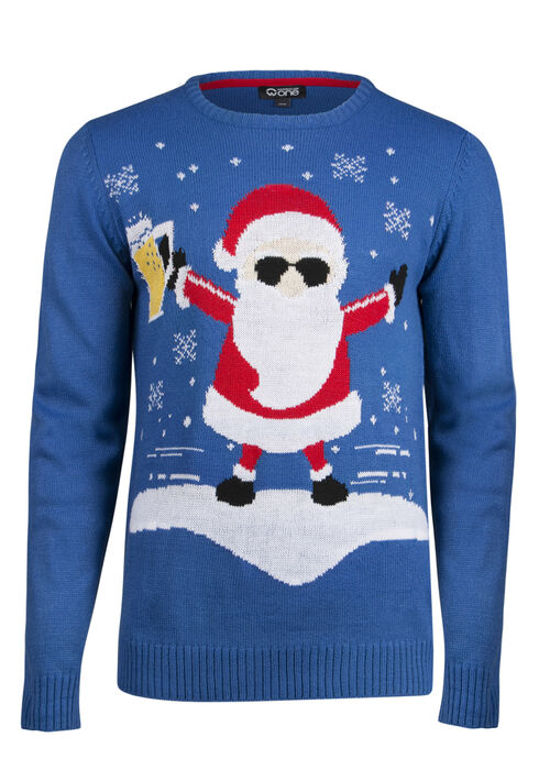 Men's Santa Musical Sweater, ROYAL BLUE, hi-res