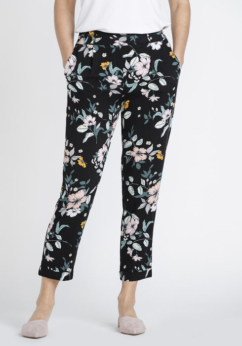 Women's Floral Crop Pant, BLACK, hi-res