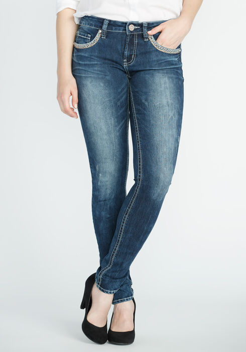 Ladies' Skinny Medium Marble Wash Jeans, MEDIUM WASH, hi-res