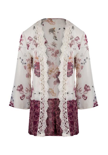 Ladies' Crochet Trim Kimono