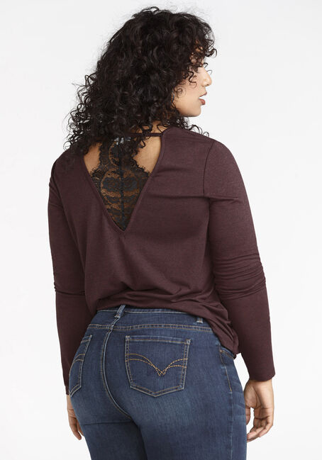 Women's Lace Back Top, WINE, hi-res