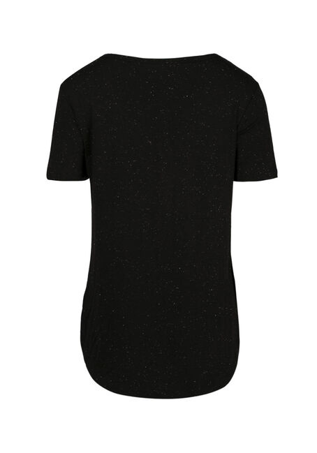 Women's Speckle V-neck Tee, BLACK, hi-res