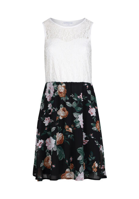 Women's White Lace Floral Skater Dress