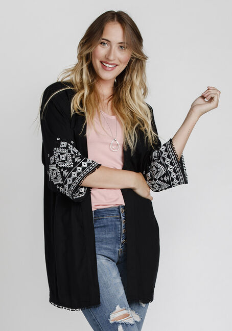 Women's Embroidered Kimono, BLACK, hi-res