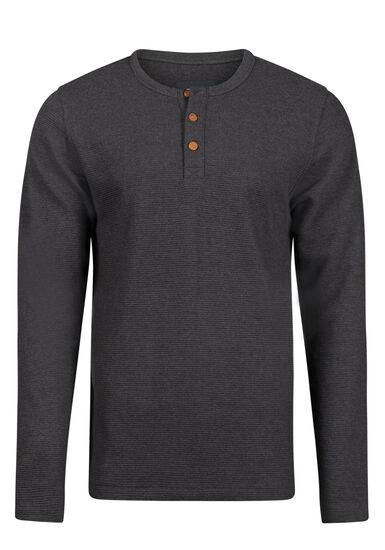 Men's Henley Rib Knit Sweater, BLACK, hi-res