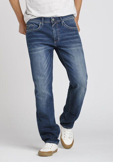 Men's Dark Indigo Wash Relaxed Straight Jeans, DARK WASH, hi-res