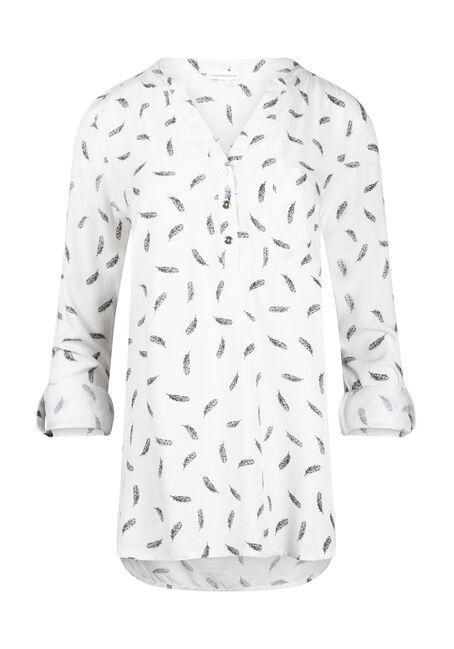 Women's Leaf Print Roll Sleeve Shirt