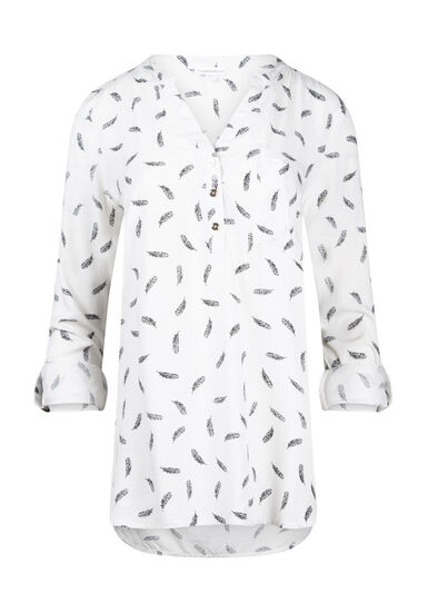 Women's Leaf Print Roll Sleeve Shirt, WHITE, hi-res