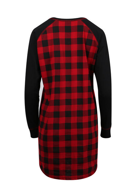 Ladies' Plaid Sleepshirt, TRUE RED/BLACK, hi-res