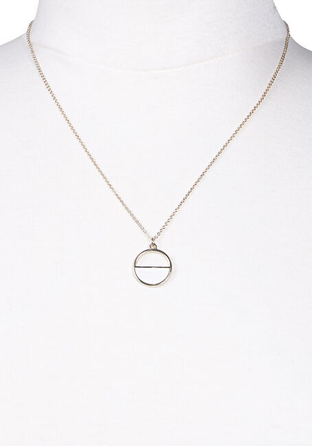 Women's Circle Necklace, GOLD, hi-res