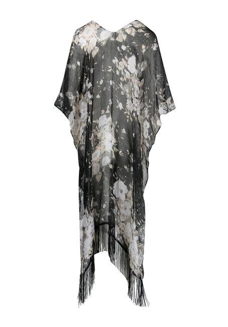 Ladies' Floral Kimono, BLK/WHT, hi-res