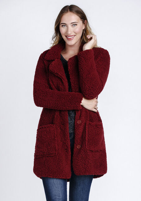 Women's Sherpa Coat, PORT, hi-res