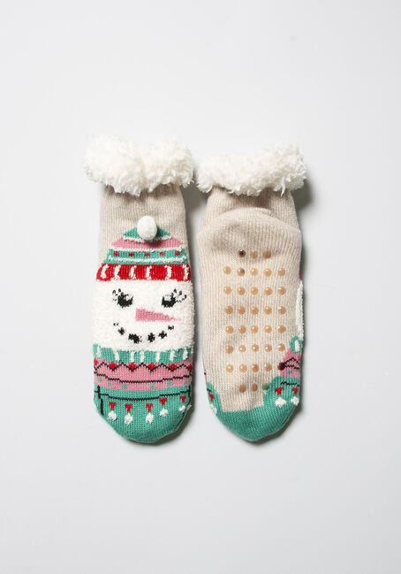 Women's Festive Slipper Socks, OATMEAL, hi-res