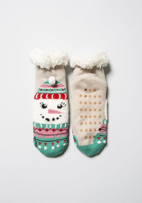 Women's Festive Slipper Socks, OATMEAL, hi-res