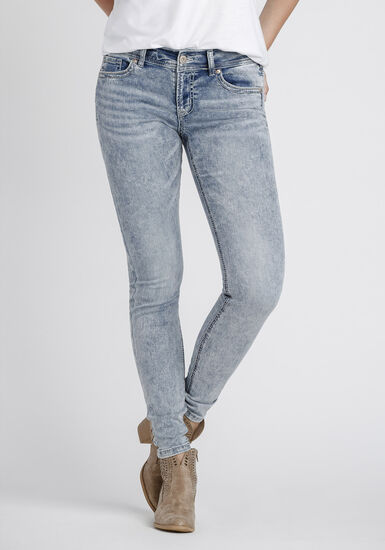 Women's Marble Wash Skinny Jeans, DENIM, hi-res