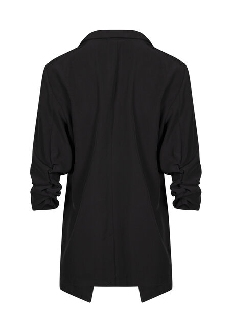 Women's Ruched Sleeve Blazer, BLACK, hi-res