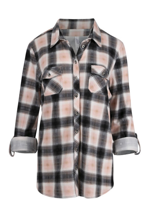 Women's Relaxed Fit Knit Plaid Shirt, TICKLED PINK, hi-res