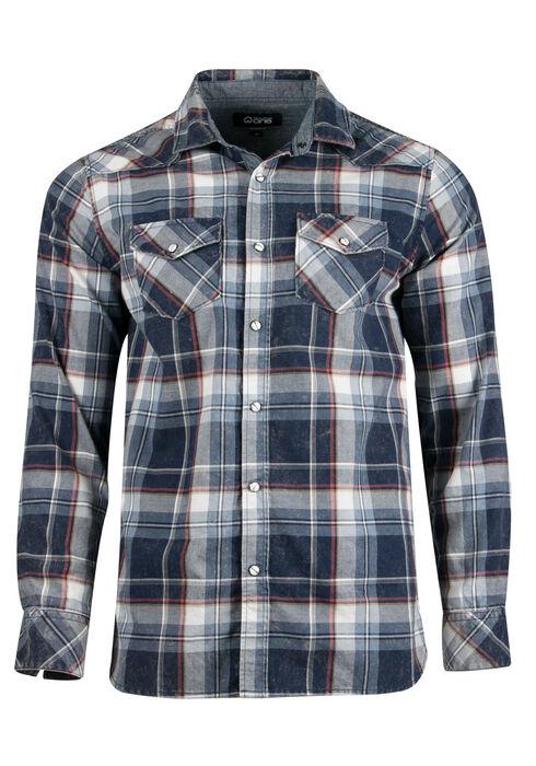 Men's Relaxed Acid Wash Plaid Shirt, BLUE, hi-res