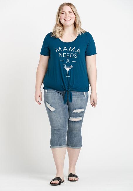 Women's Mama Tie Front Tee, TEAL, hi-res