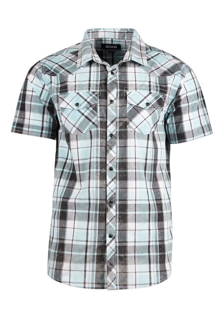 Men's Relaxed Acid Wash Plaid Shirt