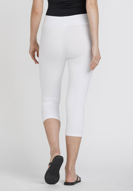 Women's Wide Waistband Capri Legging, WHITE, hi-res