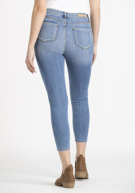 Women's  Rip & Repair Crop Skinny Jeans, MEDIUM WASH, hi-res