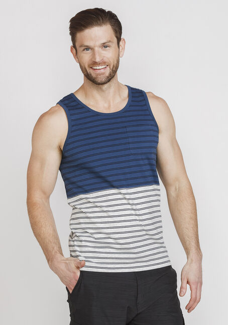 Men's Everday Striped Tank, NAVY, hi-res