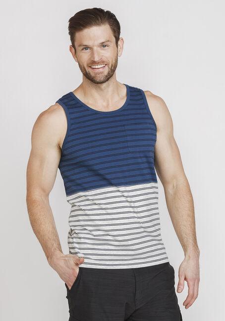 Men's Everday Striped Tank, NAVY, hi-res