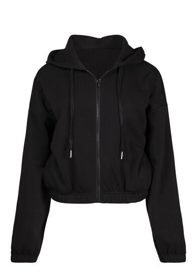 Women's Cropped Zip Front Hoodie, BLACK, hi-res