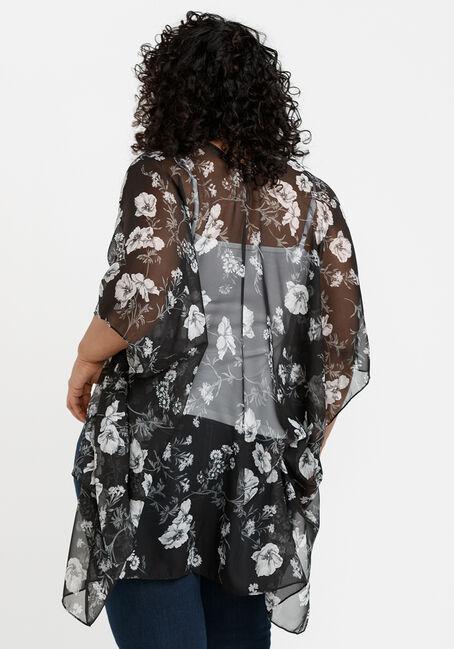 Women's Floral Print Wrap, BLACK, hi-res