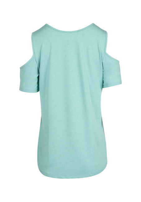 Ladies' Cage Neck Cold Shoulder Tee, SD TOPAZ, hi-res