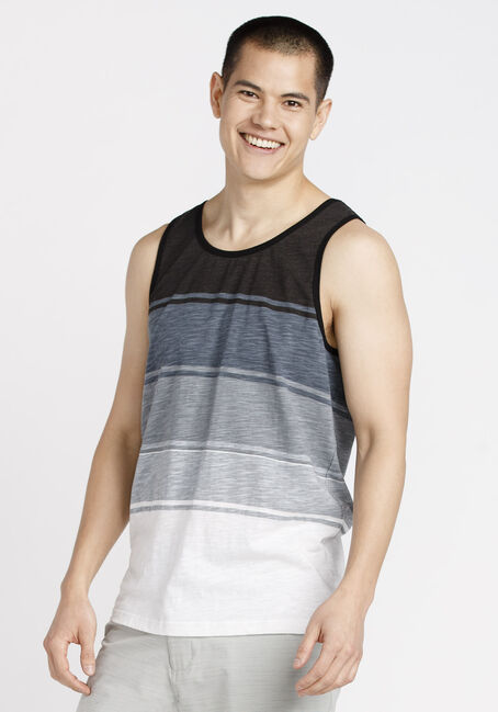 Men's Everyday Stripe Tank, BLACK, hi-res