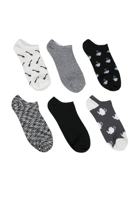 Ladies'  6 Pair Tea Time Socks, BLK/WHT, hi-res