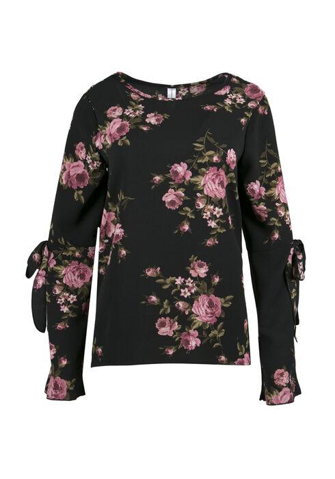 Ladies' Floral Bell Sleeve Top, BLACK, hi-res