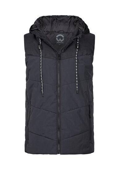 Men's Quilted Hooded Vest, BLACK, hi-res