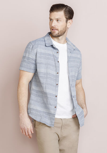 Men's Tonal Multi-Stripe Shirt, BLUE, hi-res