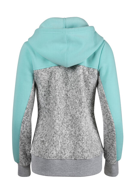 Ladies' Love Colour block Hoodie, AQUAMARINE, hi-res